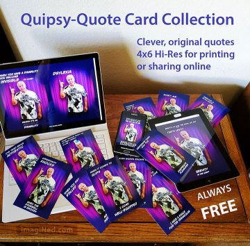 Collection of Quipsy-Quote cards laid out on a table